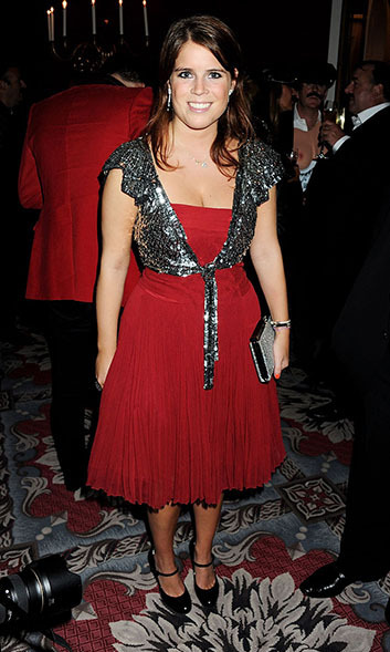 We bet Princess Eugenie pulled out the sequins in honour of Freddie Mercury (this picture was taken at a party celebrating the deceased Queen singer's 65th birthday), but the combination of red and a tinsel-like silver get us in the holiday spirit.