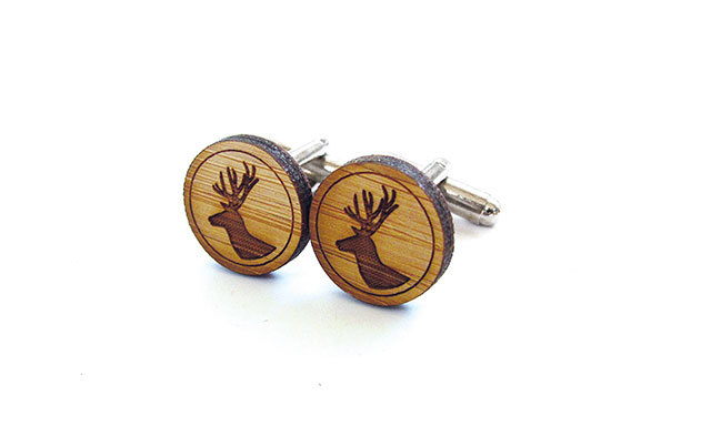 CABIN + CLUB STAG CUFFLINKS: Canadian-made bamboo cufflinks are sure to be a conversation starter. ($22, Brika at Hudson's Bay, Brika.com)