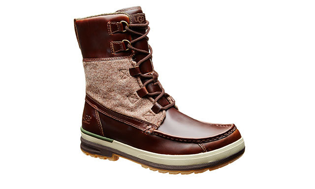 UGG AUSTRALIA WOOL-AND-LEATHER BOOTS: These manly lace-ups just may inspire him to cut down his own Christmas tree! ($298, Harryrosen.com)