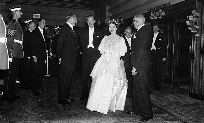Queen Elizabeth II and Prince Philip attend a Royal Film Performance of 'To Catch a Thief' at the Odeon cinema, Leicester Square, London, October 31, 1955.