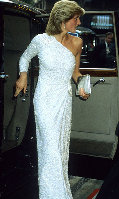Princess Diana in a dazzling white dress at the film premiere of  'Octopussy' at Odeon Leicester Square in London, June 1983.