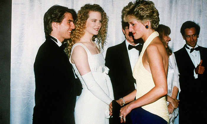 Diana, Princess of Wales, meets actors Tom Cruise and Nicole Kidman at the premiere of 'Far and Away' at the Leicester Square Empire Cinema, July 30, 1992.