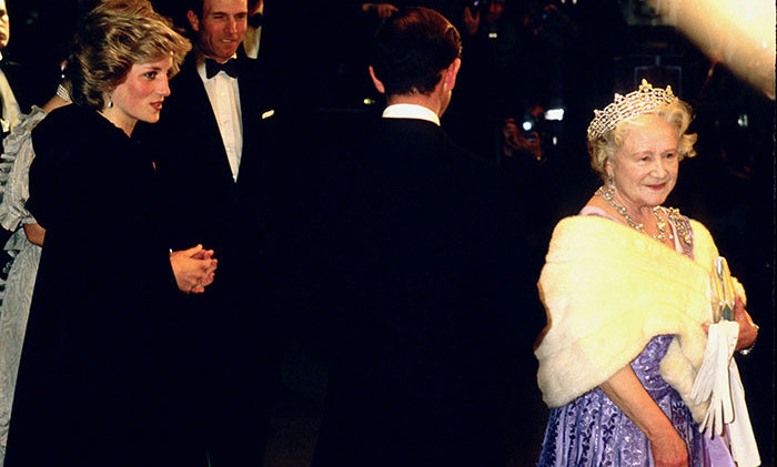 Princess Diana, Prince Charles and the Queen Mother at the Royal Film Premiere of 'A Passage To India' at Odeon Leicester Square in March 1985.