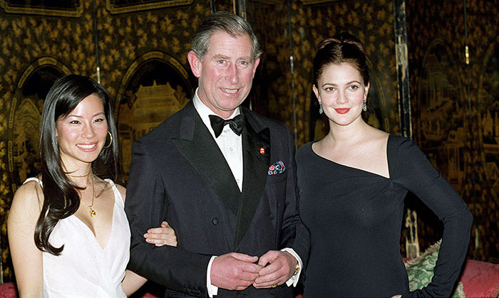 Prince Charles with Lucy Liu and Drew Barrymore at St James's Palace.  Both actresses starred in 'Charlie's Angels,' which premiered in London on behalf of The Prince's Trust on November 22, 2000.