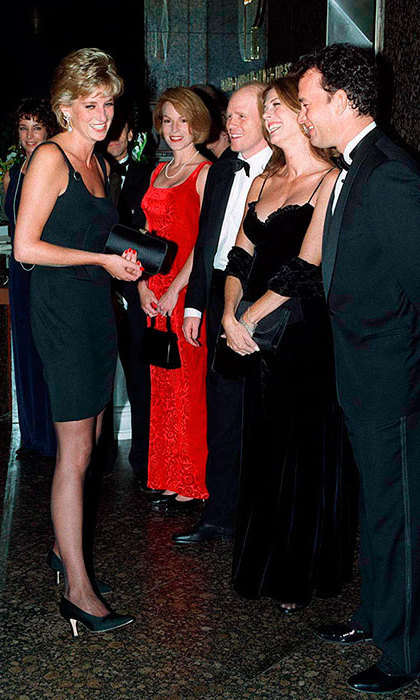 Princess Diana meeting actor Tom Hanks, his wife Rita Wilson and Director Ron Howard at the film premiere of 'Apollo 13' In London, September 7, 1995.