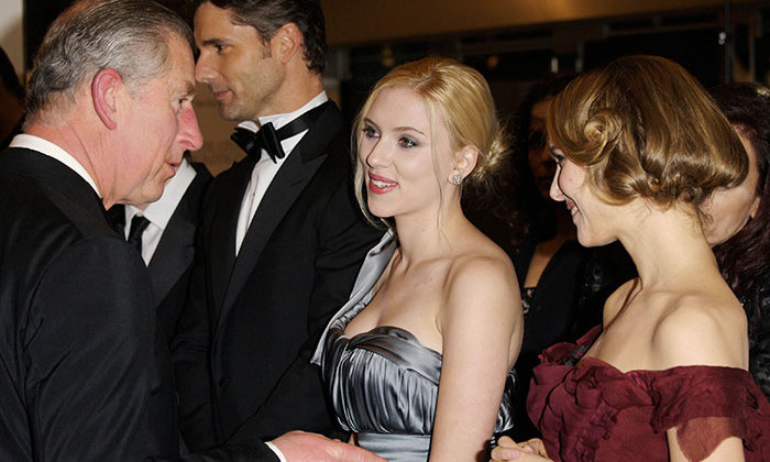 Prince Charles meets actor Eric Bana, actress Scarlett Johansson and actress Natalie Portman at the Royal Film Premiere of 'The Other Boleyn Girl' at the Odeon Cinema, Leicester Square on February 19, 2008.