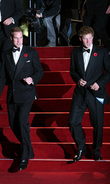 Prince William and Prince Harry attend the world premiere of 'Quantum of Solace' at Odeon Leicester Square on October 29, 2008.