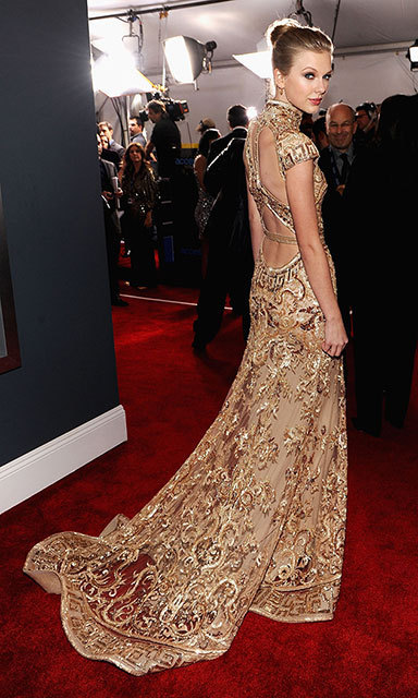 The country star stunned at the 2012 Grammy Awards in a nude silk mermaid gown by Zuhair Murad.