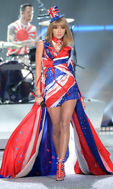 Taylor had some fun with fashion at the 2013 Victoria's Secret Fashion Show, showing her love for the Brits in a head-to-toe union jack outfit – complete with a mini top hat!