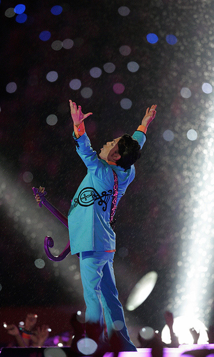 "It was only fitting that Prince performed during the halftime show in 2007 given the wet weather that year, which made his rendition of ""Purple Rain"" very powerful indeed!"