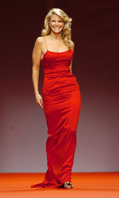 The supermodel strutted her stuff during Olympus Fashion Week (now Mercedes-Benz Fashion Week) in 2005 wearing a Heart Truth red dress.