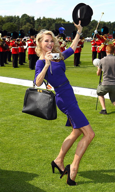 Christie took a stylish selfie at the Cartier International Polo Day 2011 in Egham, England.