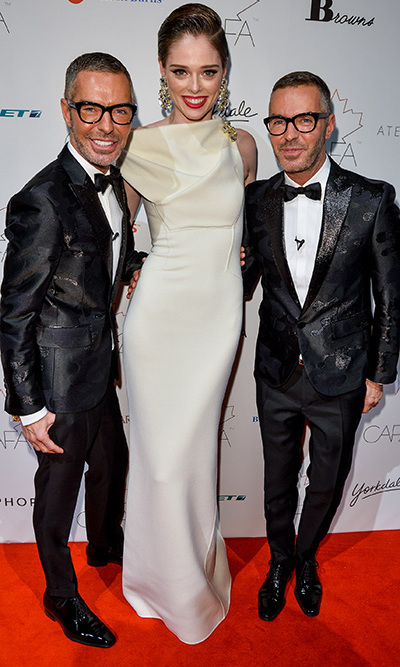 DSquared2 designers Dean and Dan Caten pose with model Coco Rocha. The design duo won Outstanding Achievement and International Designer of the Year, while Coco took home the award for Model of the Year. Photo: © George Pimentel