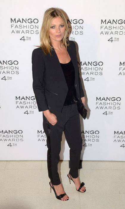 Attending the Mango Fashion Awards in 2012, Kate Moss wore a black tuxedo by the label, of which she was an ambassador.