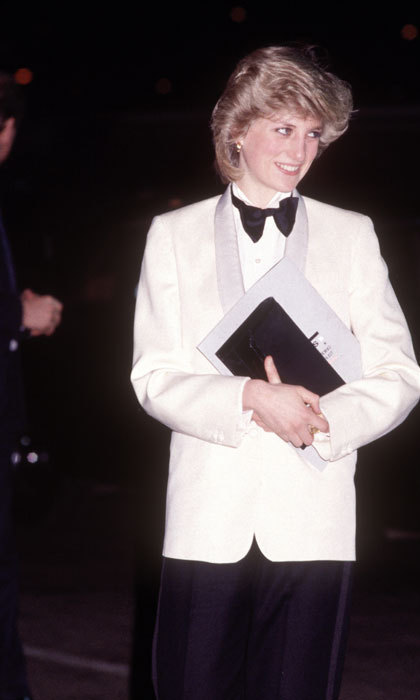 Princess Diana wore a stunning Margaret Howell tuxedo designed by David Levenson in 1984 when she headed to a Genesis concert.