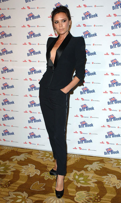 Victoria Beckham looked stunning in a black tuxedo which she designed herself as she attended a BritWeek charity event in 2010.