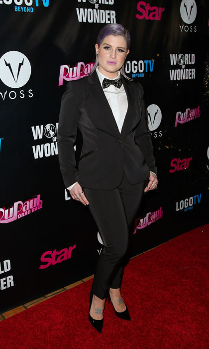 Kelly Osbourne perfected masculine chic in her tailored tux and bow tie as she attended a party at the Roosevelt Hotel in February.