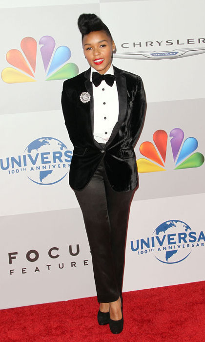 Janelle Monae is often seen sporting tuxedos on the red carpet, adding a glittery brooch and styling her hair in her trademark quiff for the 2012 Golden Globes' after party.