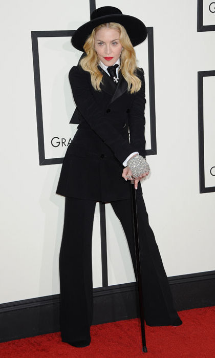 Madonna surprised everyone at the 2014 Grammys when she revealed that her chic tuxedo outfit had been chosen by her son.