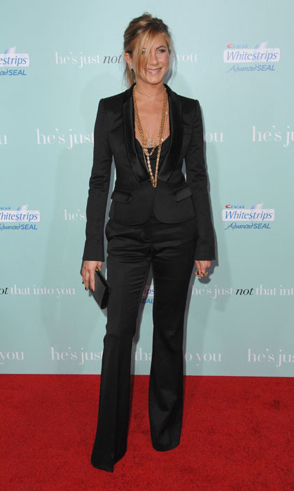 Jennifer Aniston looked incredible in a plunging black Burberry tuxedo at the He's Just Not That Into You premiere.