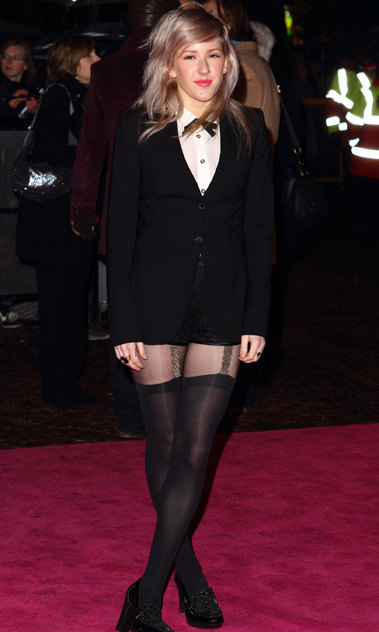 Ellie Goulding spiced up her tuxedo with suspender tights at the Burlesque UK premiere in 2010.