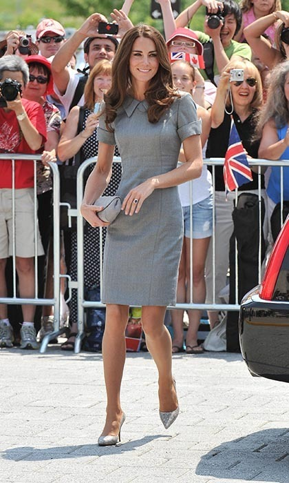 On July 2, the Duchess visited the Canadian war museum, looking gorgeous in a grey dress by Catherine Walker and Tabitha Simmons heels. She also carried a grey clutch by Hobbs. (Photo: © George Pimentel/WireImage)