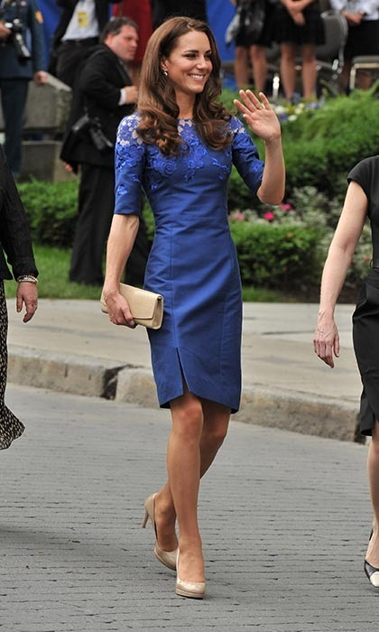 Kate turned heads in a royal blue dress — another Erdem creation — as she attended the Freedom of the City Ceremony outside City Hall in Quebec City on July 3. (Photo: © Getty)