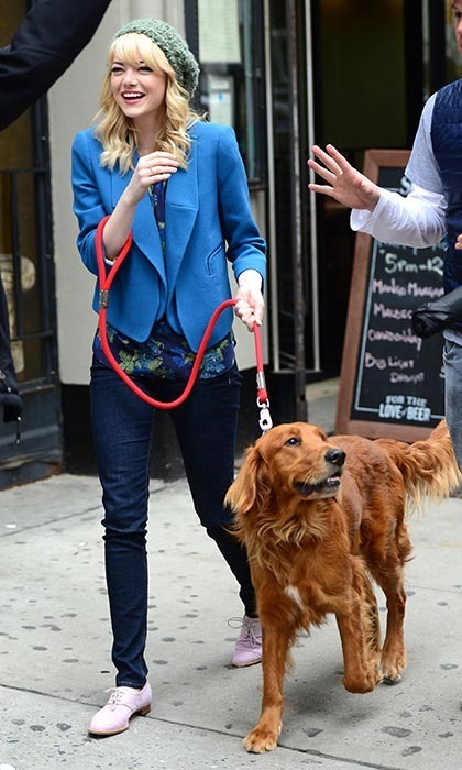 You know your love is serious when you share a pet together. Emma Stone and Andrew Garfield took their relationship to the next level by adopting a golden retriever named Ren from a rescue shelter.