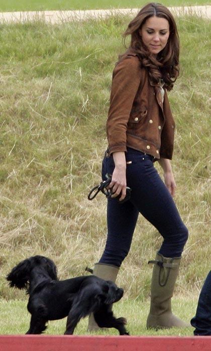 Kate Middleton brought her beloved Spaniel Lupo along to watch Prince William at a Charity polo match in June 2012. The dog is so well loved that he was given an official place in the royal family portrait after Prince George's birth.