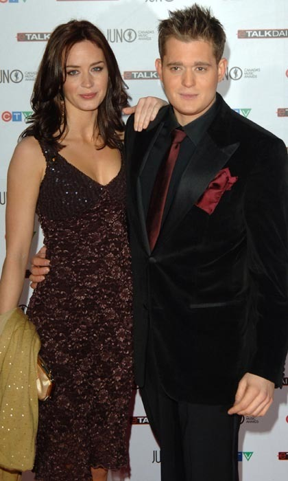 Remember when Emily Blunt was dating Michael Bublé? The actress showed up by her man's side at the 2006 Junos, where the crooner took home four awards! Emily slid into a radiant, bead-encrusted frock, while Michael looked handsome in an all-black ensemble with merlot accessories.  (Photo: George Pimentel/WireImage)