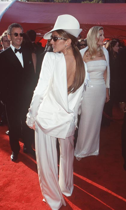 The chanteuse made fashion history at the 1999 Grammys by sporting a white tuxedo with a backwards jacket on the red carpet. The John Galliano for Dior look divided fashion critics, but remains undoubtedly one of Celine's most memorable looks to date. (Photo: © Getty)
