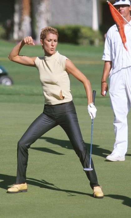 Sporty Celine struck an athletic pose at the Mission Hills Country Club during the 2000 Nabisco Golf Championship. (Photo: © Getty)