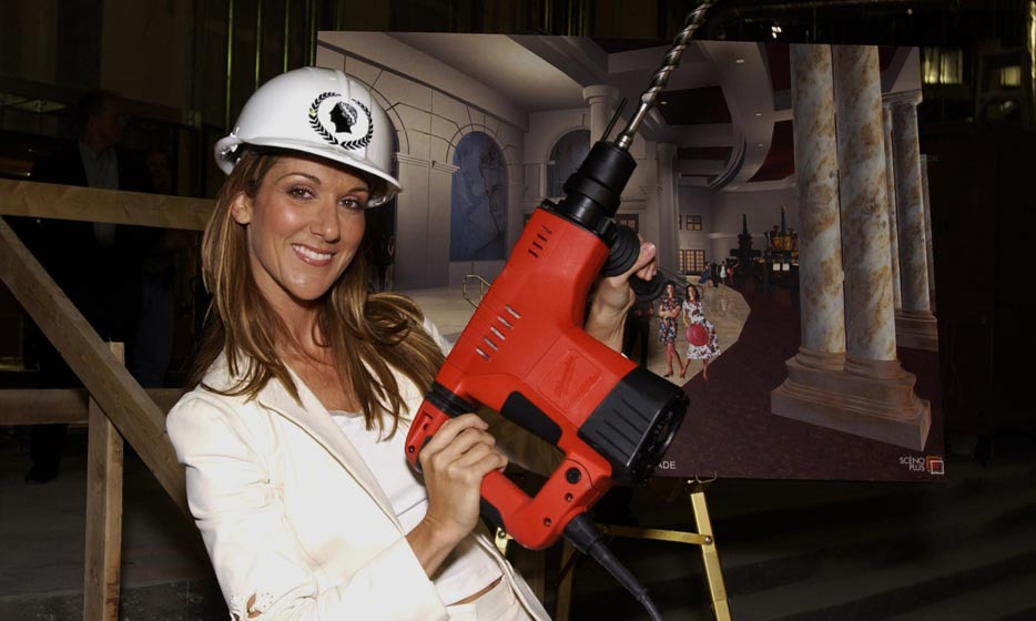 "Celine lent a helping hand to construction workers at the Colosseum at Caesar's Palace following the announcement of her Las Vegas residency in 2002. The wildly successful show has since earned more than $20 million, making the singer the ""most profitable music act in Las Vegas"" since Elvis Presley, according to 'Market Watch.' (Photo: © Getty)"