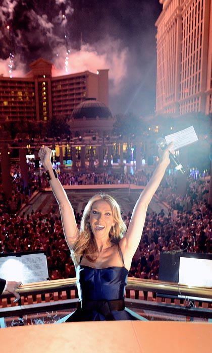 Celine could hardly contain her joy during the closing night party for the Garden of the Gods pool at Caesars Palace on June 12, 2013 in Vegas. (Photo: © Getty)