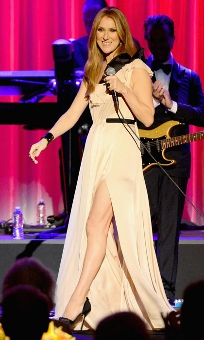"The songstress showed some serious leg in a gorgeous draped gown at the UCLA Head and Neck Surgery Luminary Awards in January 2014. She ended the evening with performances of her biggest hits, receiving a standing ovation when she closed her set with ""My Heart Will Go On."" (Photo: © Getty)"