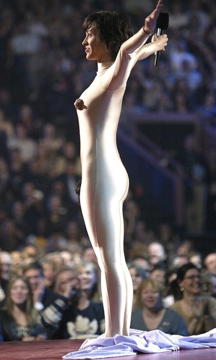 <p>Alanis Morissette targeted American censorship and the reaction to Janet Jackson's famous wardrobe malfunction at the Super Bowl by revealing an anatomically correct bodysuit at the 2004 Juno Awards. You, you, you oughta know Alanis is not scared of provocation.</p>