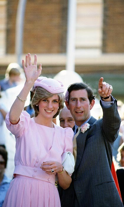 It was pink again for 21-year-old Diana as she and Prince Charles, 34, waved to the crowds in March, 1983. Diana's spectacular engagement ring, which the Duchess of Cambridge wears today, can be seen in all its sapphire glory.