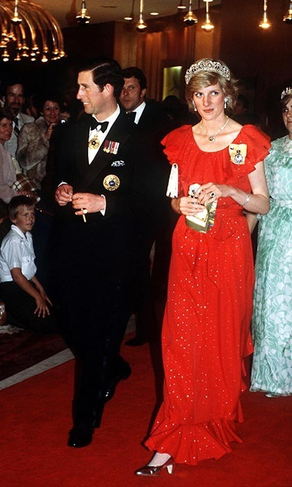We never tired of seeing Diana in a tiara, and this is no exception! Prince Charles and his lady love donned formalwear - she in a red ruffled gown by Bruce Oldfield and a Spencer Family tiara - for a state reception in Hobart, Tasmania on Mar. 30.