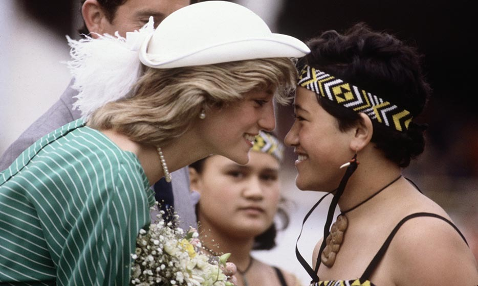 Hello, New Zealand! Diana launched the second leg of her royal tour with Princes Charles and William with the traditional Maori nose-rub greeting in the Eden Park Stadium on her Apr. 18, 1983 arrival in Auckland. Princess Diana wore a dress designed by Donald Campbell and a hat by John Boyd.