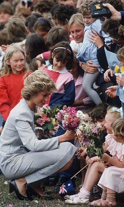 A philanthropist and great advocate for children, Princess Diana looked completely in her element greeting young admirers during a walk about in Melbourne.