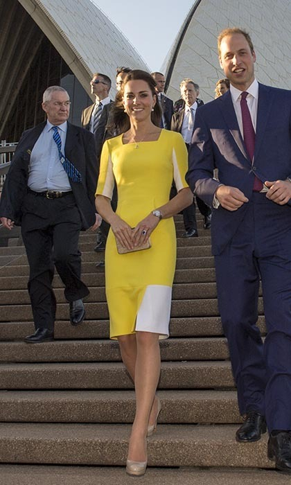 "The Duchess of Cambridge was positively radiant as she stepped off the plane in Australia wearing a yellow wool crepe dress with white panels by designer Roksanda Ilincic.  But while Kate's sunny look drew admiration from the crowds, her husband Prince William apparently wasn't a fan.  ""William said I look like a banana!"" Catherine told one well-wisher."