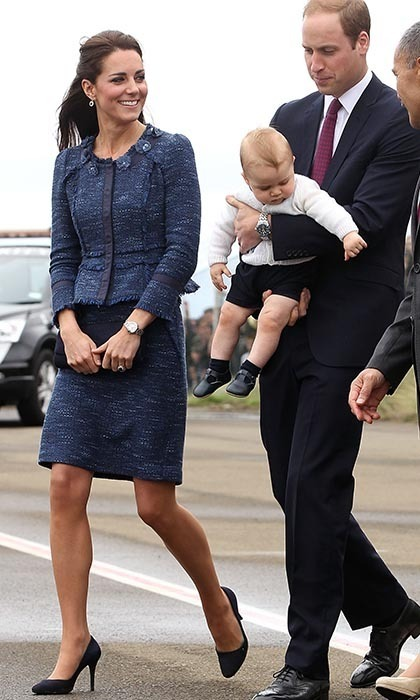 Kate wore an elegant blue skirt and jacket by Kiwi designer Rebecca Taylor for her final day in New Zealand.