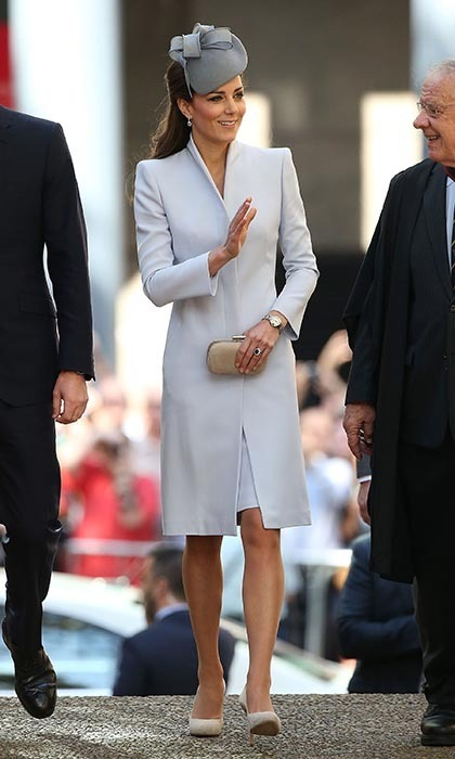 DAY 14: The Duchess of Cambridge was effortlessly elegant in Alexander McQueen on Sunday as she attended an Easter Church service with Prince William. She complemented the look with a Jane Taylor fascinator.