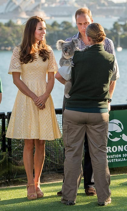 DAY 14: Kate's pretty yellow sundress was the perfect choice for a day at Taronga Zoo in Sydney.