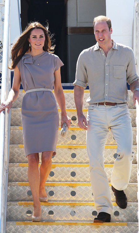 DAY 15: The Duchess of Cambridge opted for Serbian designer Roksanda Ilincic for the second time since her arrival in Australia – she stepped off the plane in Sydney in a lovely yellow dress – wearing a taupe cap-sleeved dress. The loose-fitting, casual number was cinched in at the waist with a pale grey belt.