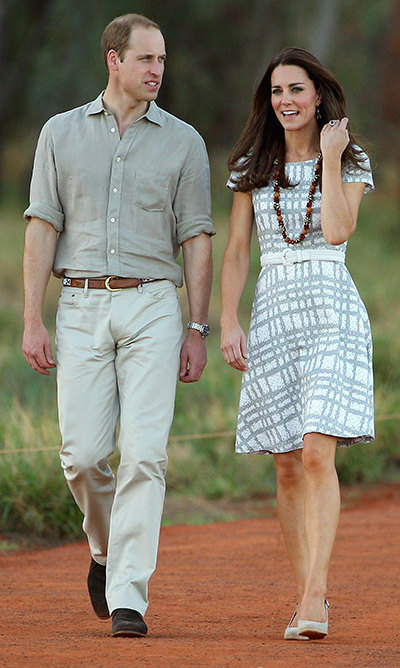 DAY 15: Kate's desert style didn't stop there, though. The Duchess made a wardrobe change from her arrival dress into a recycled Hobbs grey and white summer dress, sensibly ditching the heels for a pair of wedges for the rest of the afternoon.
