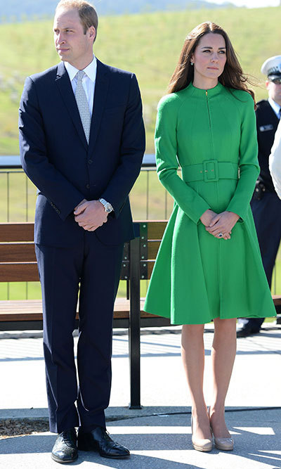 DAY 17: In a lovely emerald green Catherine Walker coat dress, Kate, 32, looked stylish as she greeted the welcoming crowds.