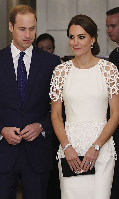 DAY 17: Kate looked elegant in a white cocktail dress by Lela Rose for an appearance at the Governor-General's reception on Thursday evening. The white circle lace trim dress features a graphic effect to the sleeves and peplum waist over a beautifully fitted sheath dress. The Duchess competed her outfit with a black clutch bag and matching heels, and wore her hair up in a chic updo.