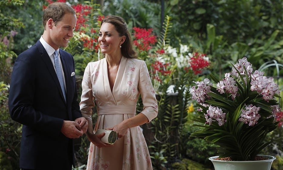 William and Kate beamed as they looked at an orchid named in honour of Princess Diana at Singapore Botanical Gardens on their Diamond Jubilee tour in 2012.