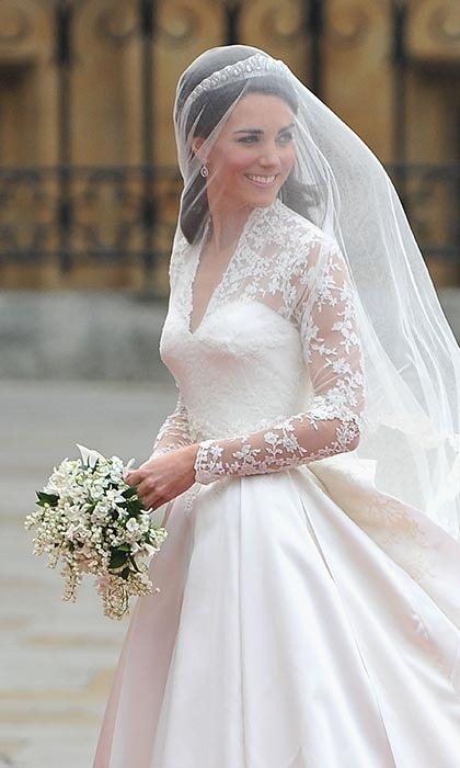 "For the royal wedding, Kate let her exquisite Alexander McQueen dress take centre stage as she held a simple, subtle bouquet. The British flowers – lily of the valley, sweet william and hyacinth with myrtle and ivy – each held a specific meaning for Kate on her special day (sweet william is the emblem of ""gallantry,"" unsurprisingly!)."